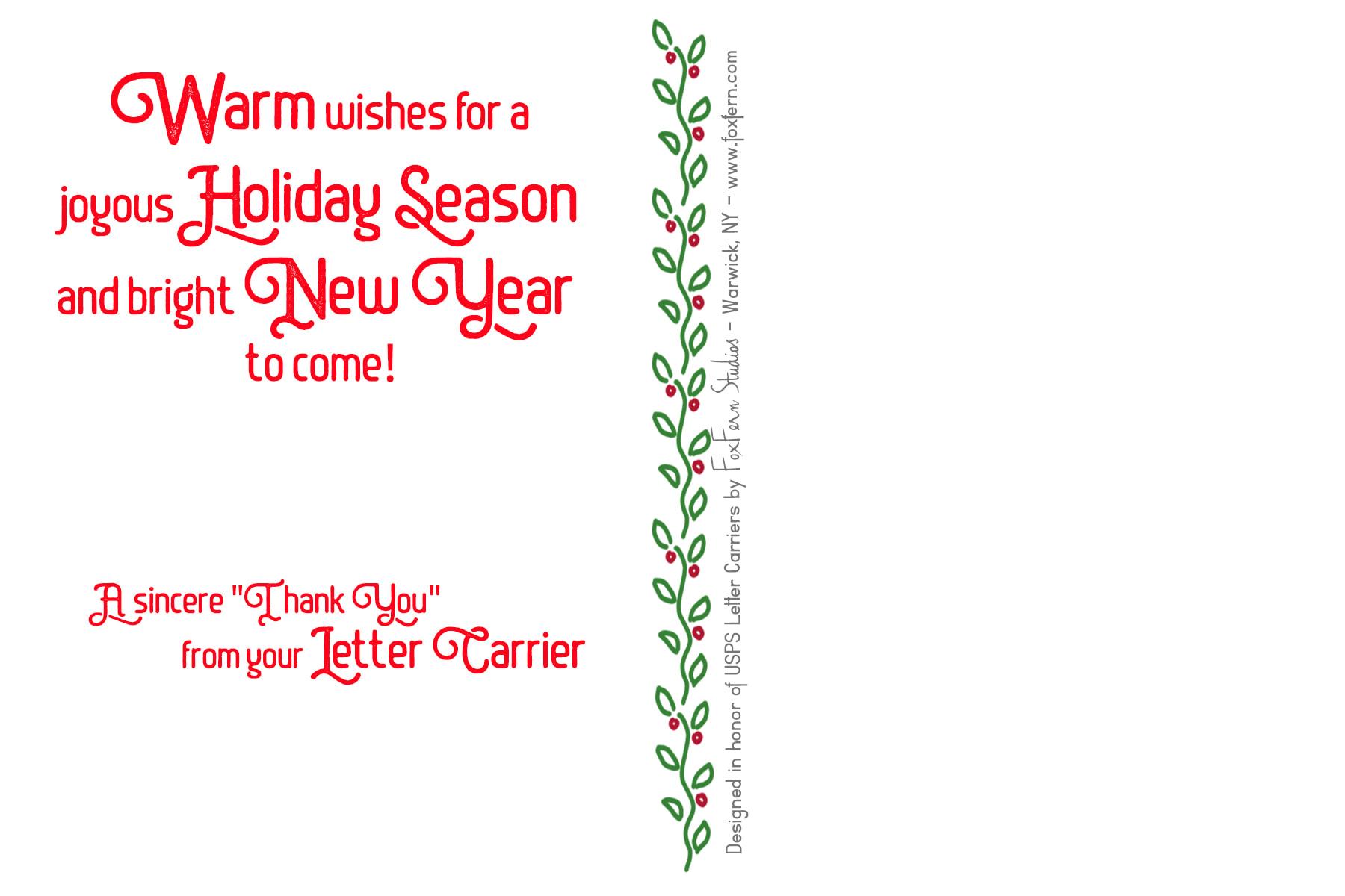 letter carrier holiday cards - santa driving vintage postal jeep